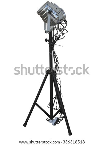 Studio spotlight lighting equipment isolated on white background