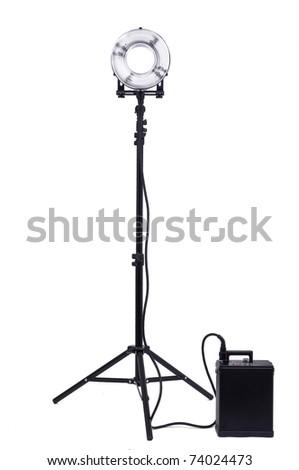 Studio strobe isolated on white - stock photo