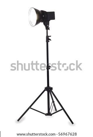 Studio strobe on white background - stock photo