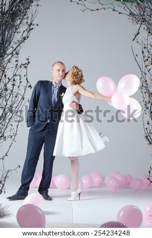 Studio wedding photography - stock photo