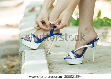 studs on the legs - stock photo