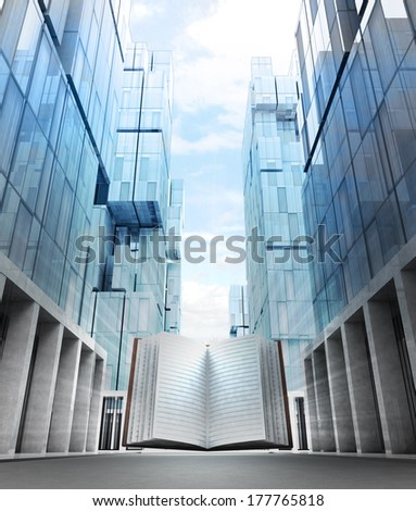 study book in new modern business city street illustration - stock photo