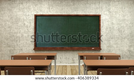 Study desks and the teachers' board in the classroom,the 3D illustration  - stock photo