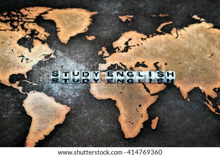 STUDY ENGLISH on grunge world map