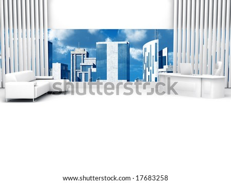 Study in modern style with a view from the window on city centre skyscrapers - stock photo