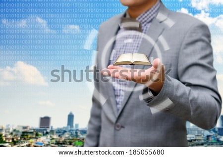 Study investment course with professional in the city, Successful businessman concept - stock photo