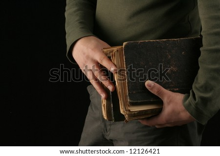 study man carry old book