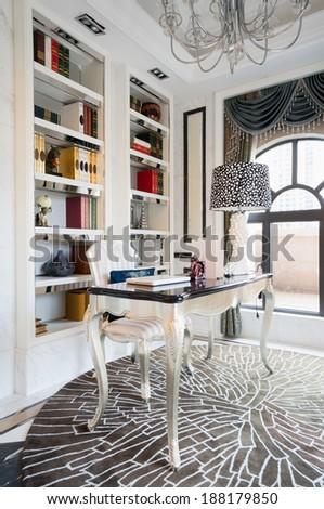 study room with nice decoration - stock photo