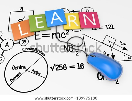 Study with school symbols background