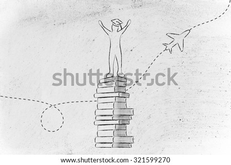 studying abroad: happy graduated student on top of books with airplane in the background - stock photo