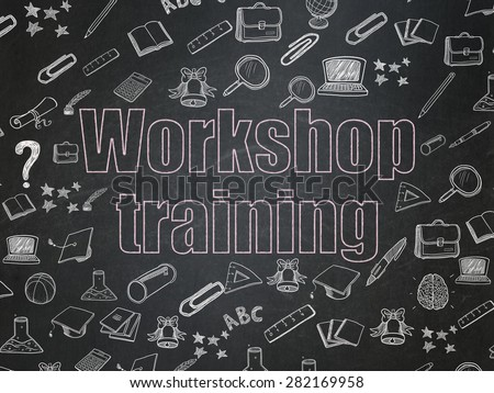 Studying concept: Chalk Pink text Workshop Training on School Board background with  Hand Drawn Education Icons, 3d render - stock photo