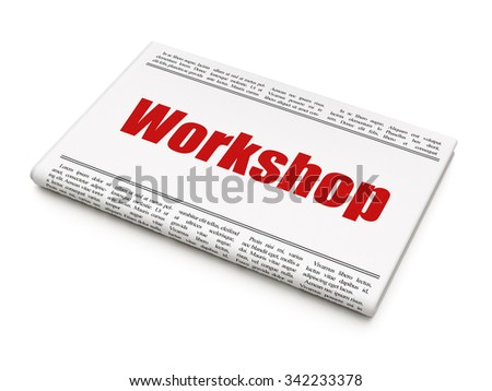 Studying concept: newspaper headline Workshop on White background, 3d render - stock photo