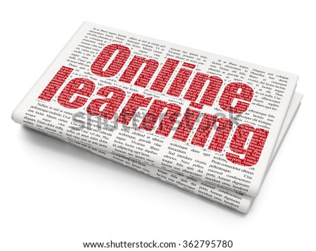 Studying concept: Online Learning on Newspaper background - stock photo