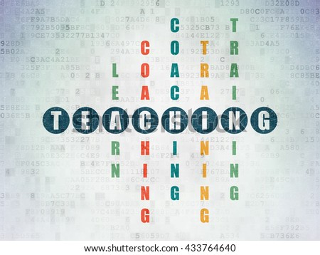 Studying concept: Painted blue word Teaching in solving Crossword Puzzle on Digital Data Paper background - stock photo