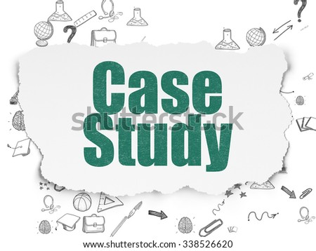 Studying concept: Painted green text Case Study on Torn Paper background with Scheme Of Hand Drawn Education Icons - stock photo