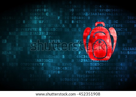 Studying concept: pixelated Backpack icon on digital background, empty copyspace for card, text, advertising - stock photo
