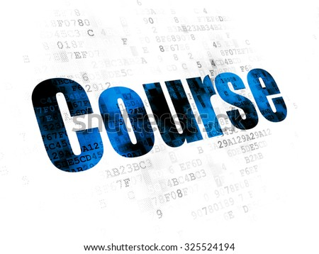 Studying concept: Pixelated blue text Course on Digital background - stock photo