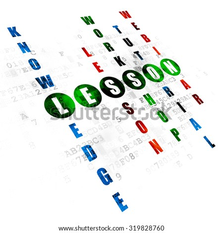 Studying concept: Pixelated green word Lesson in solving Crossword Puzzle on Digital background - stock photo