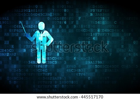 Studying concept: pixelated Teacher icon on digital background, empty copyspace for card, text, advertising - stock photo