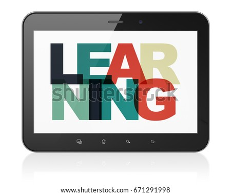 Studying concept: Tablet Computer with Painted multicolor text Learning on display, 3D rendering