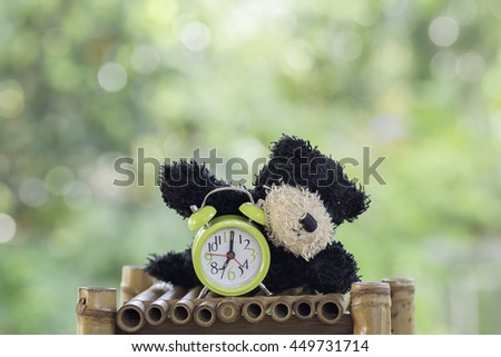 stuffed animal dog  toy and green alarm clock on Blurred Background - stock photo
