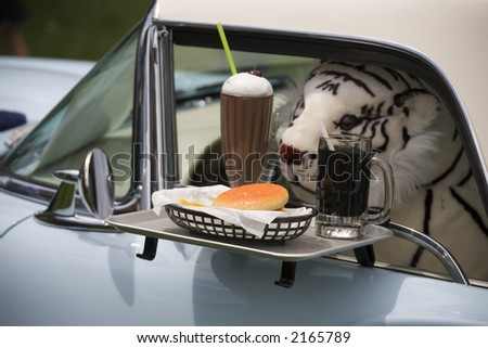 Stuffed animal receiving drive up window service in a classic car.
