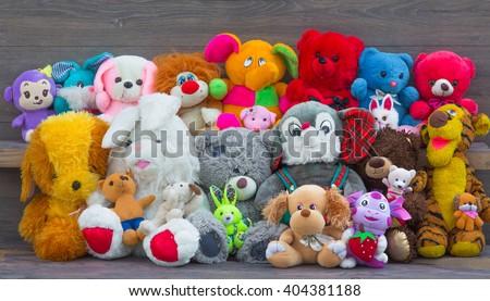 Stuffed animal toys - stock photo