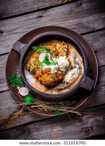 Stuffed cabbage leaves with sauce in ceramic bowl on wooden table. Selective focus. - stock photo