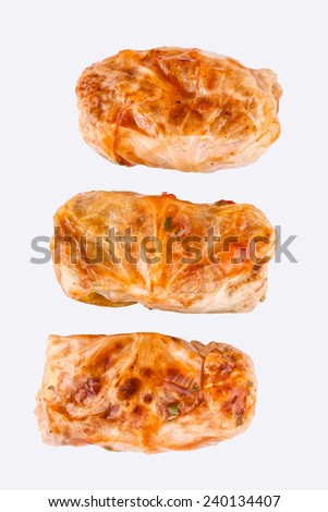 stuffed cabbage, meat in roll of cabbage isolated on white background