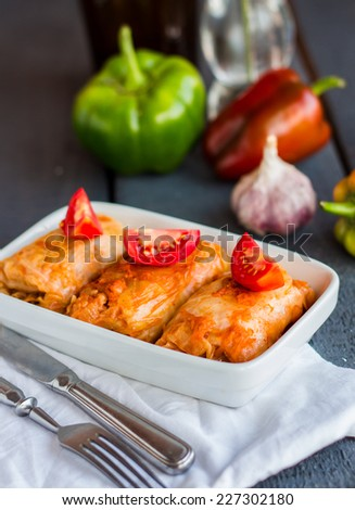 stuffed cabbage with meat and fresh tomatoes in white bowl, Ukrainian cuisine - stock photo