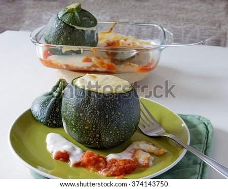 Stuffed courgettes - stock photo