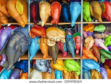 stuffed elephant toys for sale in pattaya thailand - stock photo
