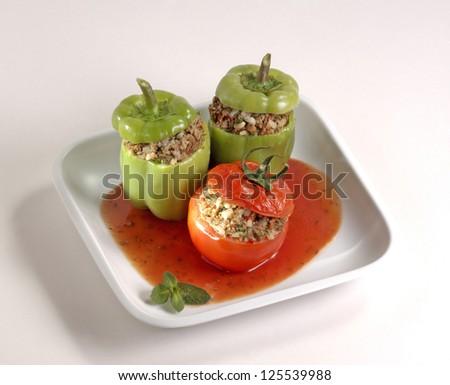 stuffed green peppers - stock photo
