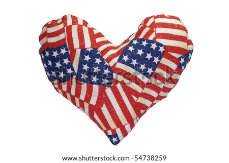 Stuffed heart with a US flag pattern - stock photo