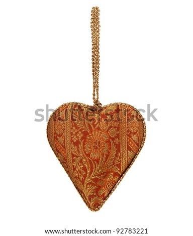 Stuffed heart with a vintage pattern isolated on white
