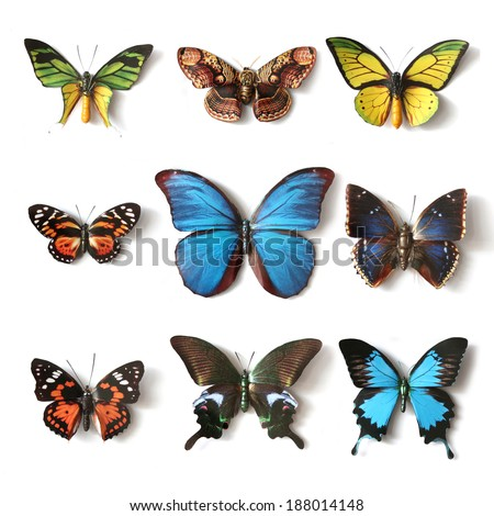 Stuffed insects Butterfly collection set - stock photo