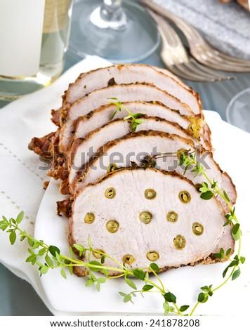 stuffed meat pork turkey garden green bean - stock photo