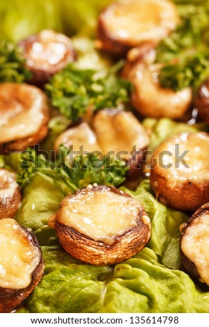 stuffed mushrooms with meat and cheese