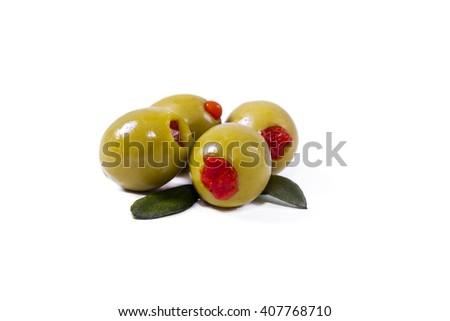 stuffed olives isolated - stock photo