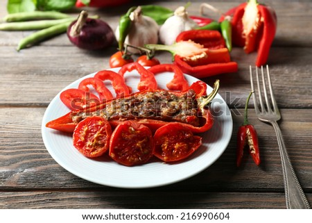 Stuffed pepper with meat and vegetables