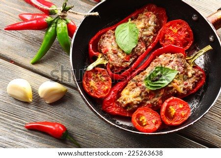 Stuffed pepper with meat and vegetables - stock photo