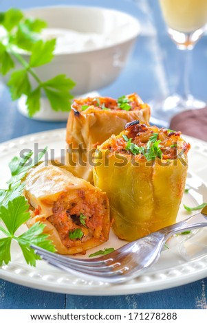 Stuffed peppers - stock photo