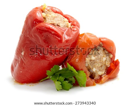 stuffed peppers isolated on white with shadows