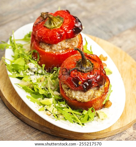 Stuffed peppers with meat food  - stock photo