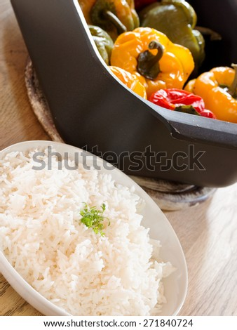 stuffed peppers with rice - stock photo