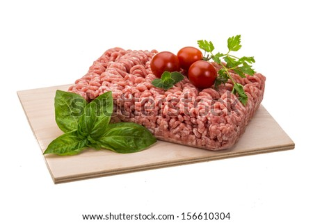 Stuffed raw meat with basil - stock photo