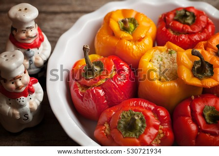 Stuffed Sweet Peppers With Chicken And Quinoa In Deep Dish
