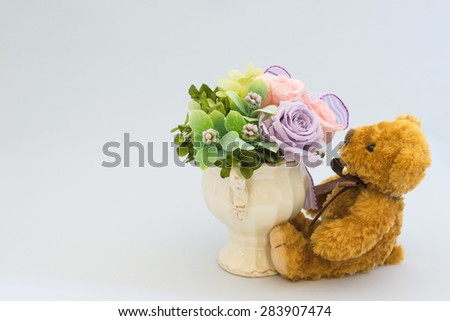 Stuffed toy of the bear - stock photo