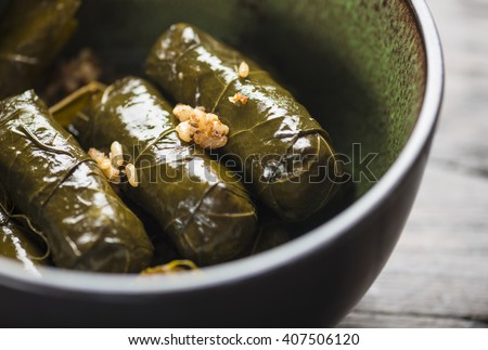 Stuffed vine leaves, or dolmades, in a bowl. Close up. Stuffed Mediterranean vine leaves. International cuisine. - stock photo