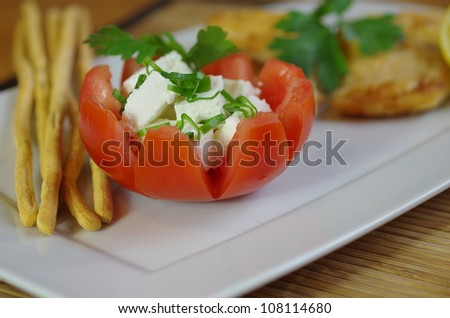 stuffed with cottage cheese tomato